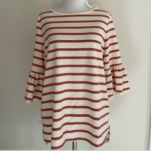 Max Studio Weekend pink and white stripe top